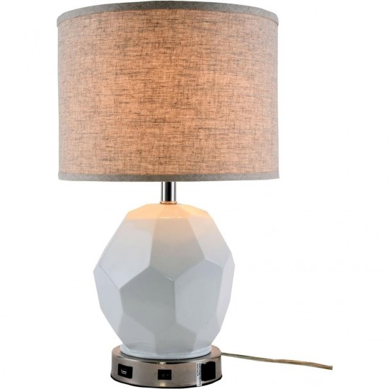 Elegant Decor Brio Collection 1-Light Polished Nickel Finish Table Lamp