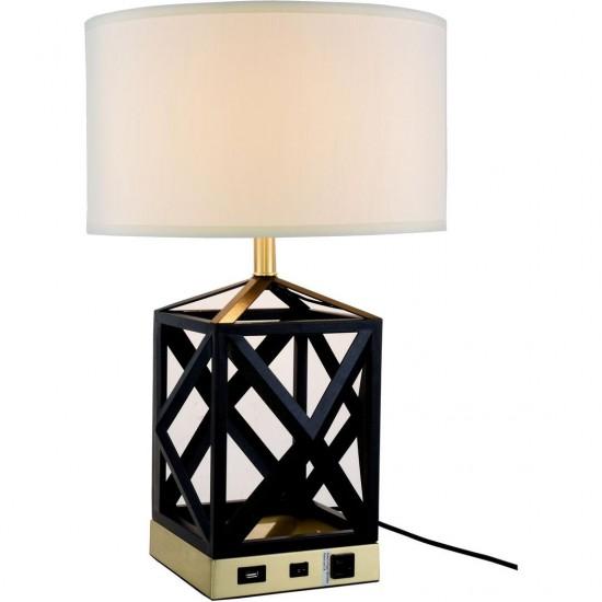 Elegant Decor Brio Collection 1-Light Black Finish Table Lamp
