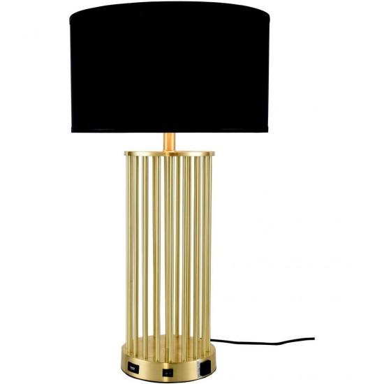Elegant Decor Brio Collection 1-Light Brushed Brass Finish Table Lamp
