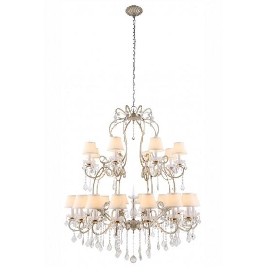Elegant Lighting 1471 Diana Collection Chandelier D: 44 H: 55 Lt: 24 Vintage Silver Leaf Finish