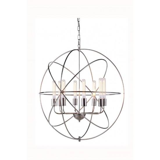 Elegant Lighting 1453 Vienna Collection Pendant Lamp D: 32 H: 33 Lt: 8 Polished Nickel Finish