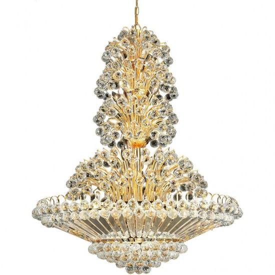 Elegant Lighting Sirius 33 Light Gold Chandelier Clear Royal Cut Crystal