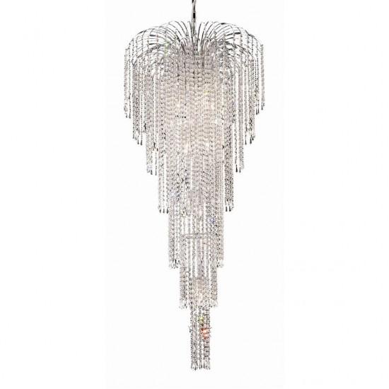 Elegant Lighting Falls 11 Light Chrome Chandelier Clear Elegant Cut Crystal