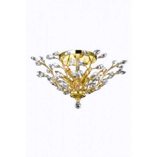 Elegant Lighting Orchid 6 Light Gold Flush Mount Clear Spectra Swarovski Crystal
