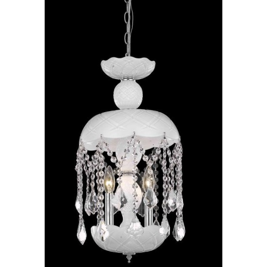 Elegant Lighting Rococo 3 Light White Pendant White Royal Cut Crystal