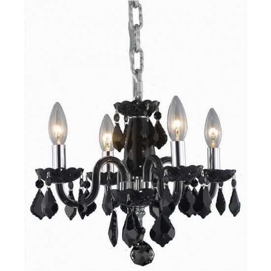 Elegant Lighting Rococo 4 Light Black Pendant Jet (Black) Royal Cut Crystal