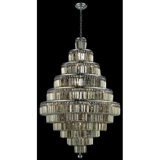 Elegant Lighting Maxime 30 Light Chrome Chandelier Golden Teak (Smoky) Swarovski Elements Crystal