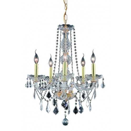Elegant Lighting Verona 5 Light Gold Chandelier Clear Royal Cut Crystal