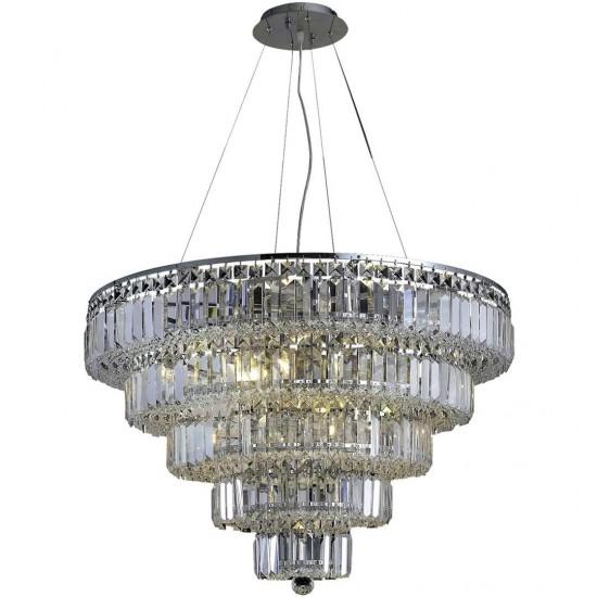 Elegant Lighting Maxime 17 Light Chrome Chandelier Clear Elegant Cut Crystal
