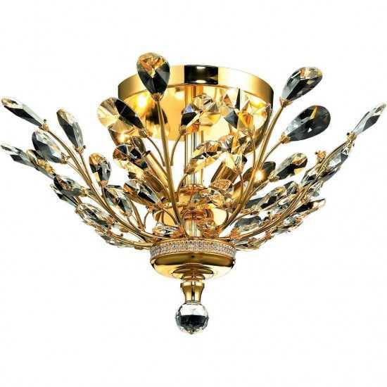 Elegant Lighting Orchid 4 Light Gold Flush Mount Clear Spectra Swarovski Crystal