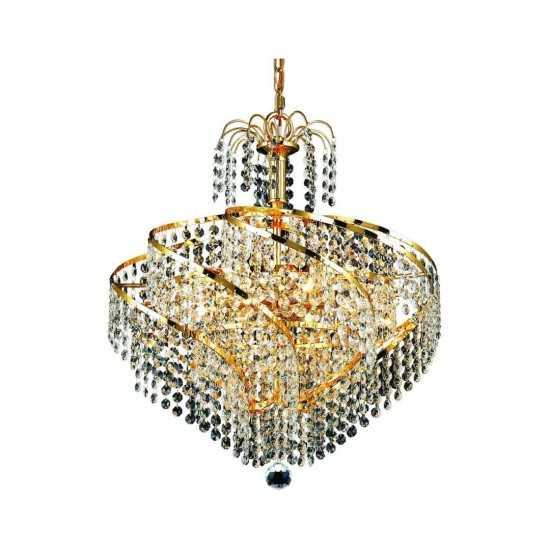Elegant Lighting Spiral 8 Light Gold Pendant Clear Spectra Swarovski Crystal