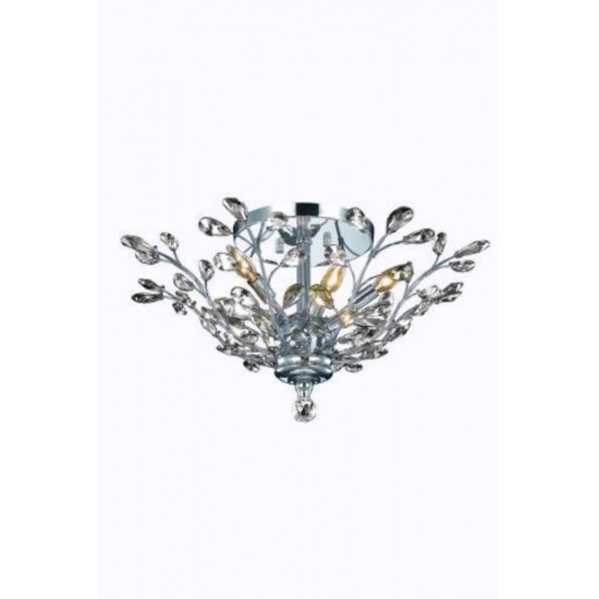 Elegant Lighting Orchid 6 Light Chrome Flush Mount Clear Spectra Swarovski Crystal