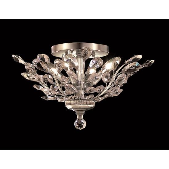 Elegant Lighting Orchid 4 Light Chrome Flush Mount Clear Swarovski Elements Crystal