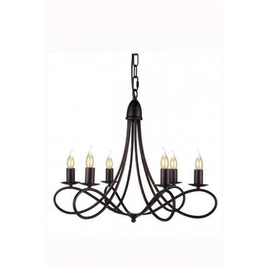 Elegant Lighting 1452 Lyndon Collection Pendant Lamp D: 24 H: 19 Lt: 6 Dark Bronze Finish