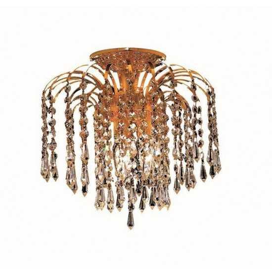 Elegant Lighting Falls 3 Light Gold Flush Mount Clear Elegant Cut Crystal