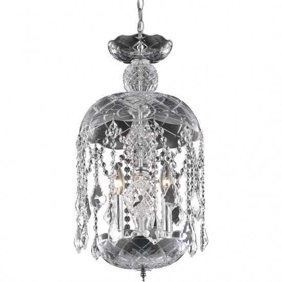 Elegant Lighting Rococo 3 Light Chrome Pendant Clear Royal Cut Crystal
