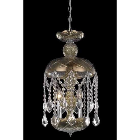 Elegant Lighting Rococo 3 Light Golden Teak Pendant Golden Teak (Smoky) Royal Cut Crystal