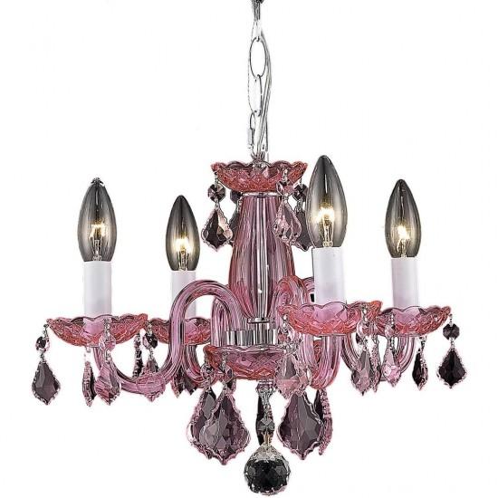 Elegant Lighting Rococo 4 Light Pink Pendant Rosaline (Pink) Royal Cut Crystal