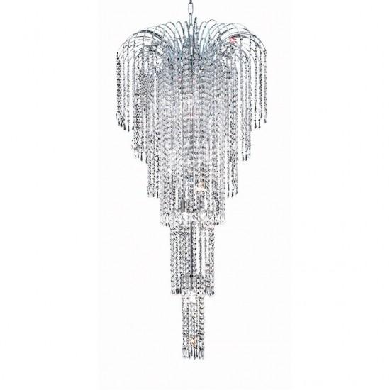 Elegant Lighting Falls 9 Light Chrome Chandelier Clear Spectra Swarovski Crystal