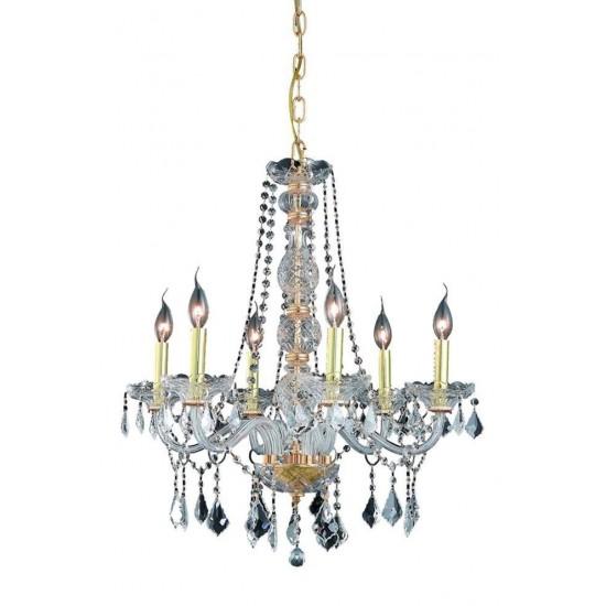 Elegant Lighting Verona 6 Light Gold Chandelier Clear Swarovski Elements Crystal