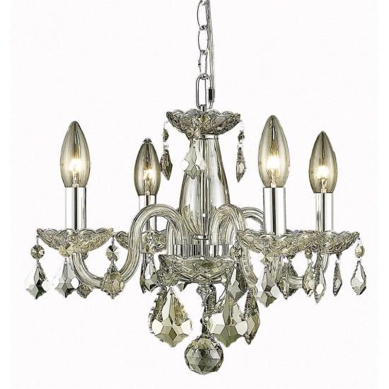 Elegant Lighting Rococo 4 Light Golden Shadow Pendant Golden Shadow (Champagne) Royal Cut Crystal