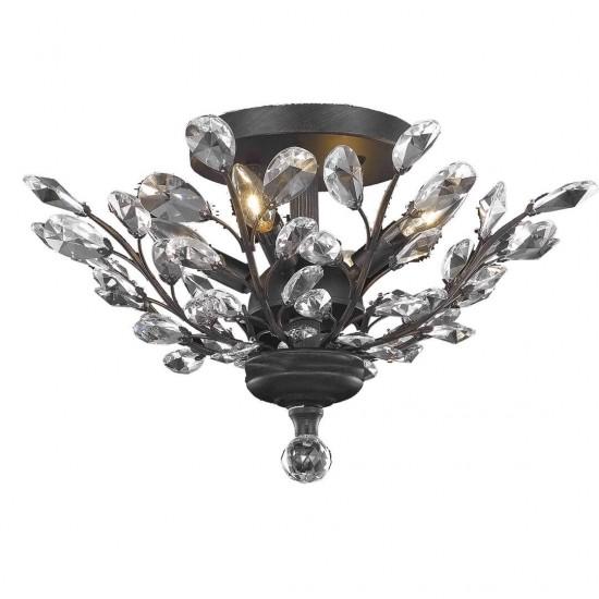 Elegant Lighting Orchid 4 Light Dark Bronze Flush Mount Clear Spectra Swarovski Crystal