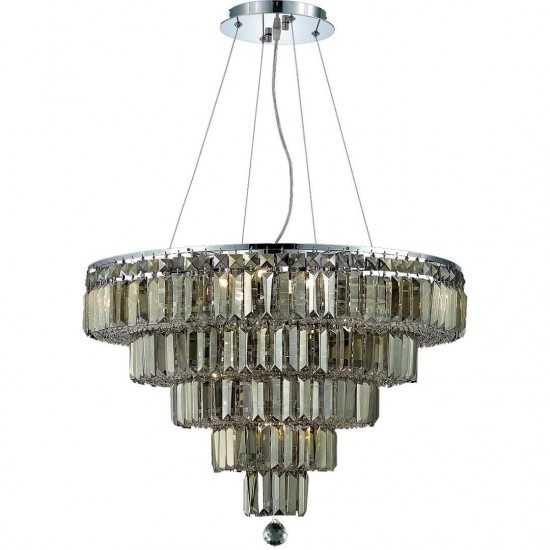 Elegant Lighting Maxime 14 Light Chrome Chandelier Golden Teak (Smoky) Royal Cut Crystal