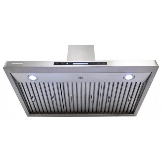 """30"""", LED lights, Baffle Filters W/ Grease Drain Tunnel, 1.0mm Non-Magnetic Stainless Steel Seamless Body, Wall Mount Range Ho"""