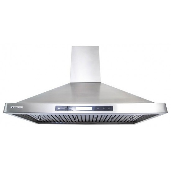 """42"""", LED lights, Baffle Filters W/ Grease Drain Tunnel, 1.0mm Non-Magnetic Stainless Steel Seamless Body, Wall Mount Range Ho"""
