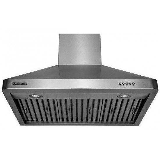 """36"""", LED lights, Baffle Filters W/ Grease Drain Tunnel, 3 Speed Mechanical Controls, Wall Mount Range Hood"""