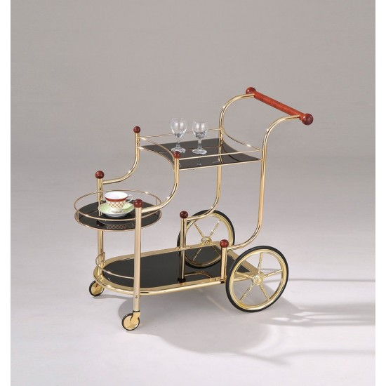 ACME Lacy Serving Cart, Gold Plated, Cherry Wood & Black Glass