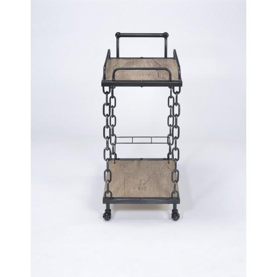 ACME Jodie Serving Cart, Rustic Oak & Antique Black