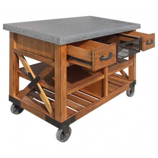 ACME Kailey Kitchen Cart, Antique Oak