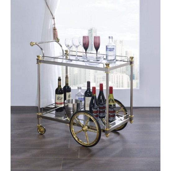 ACME Cyrus Serving Cart, Silver/Gold & Clear Glass