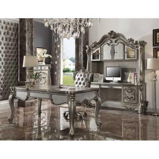ACME Versailles Executive Chair w/Swivel & Lift, Silver PU & Antique Platinum