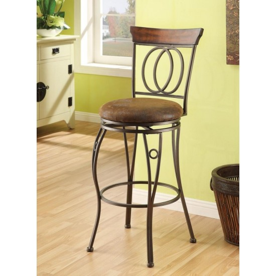 "ACME Tavio Bar Chair w/Swivel (Set-2), Fabric & Dark Bronze, 29"" Seat Height"