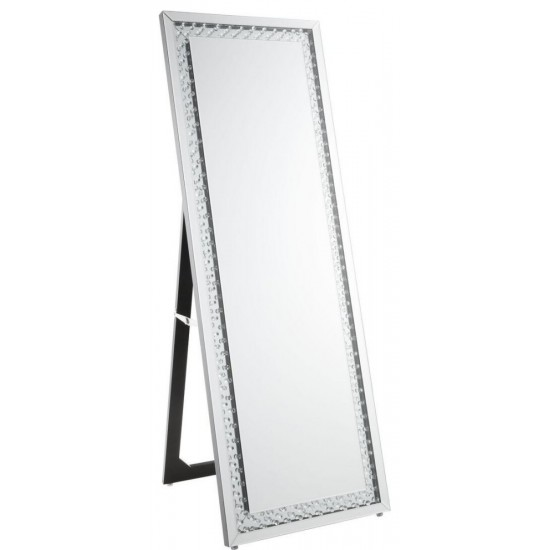 ACME Nysa Accent Mirror (Floor), Mirrored & Faux Crystals