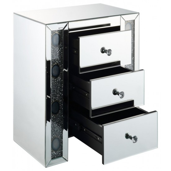 ACME Sonia Night Table, Mirrored & Faux Agate