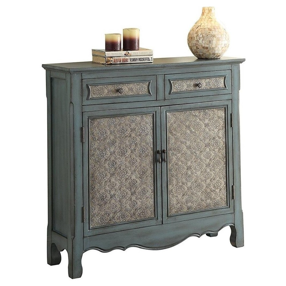 ACME Winchell Console Table, Antique Blue