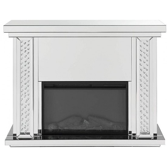 ACME Nysa Fireplace, Mirrored & Faux Crystals