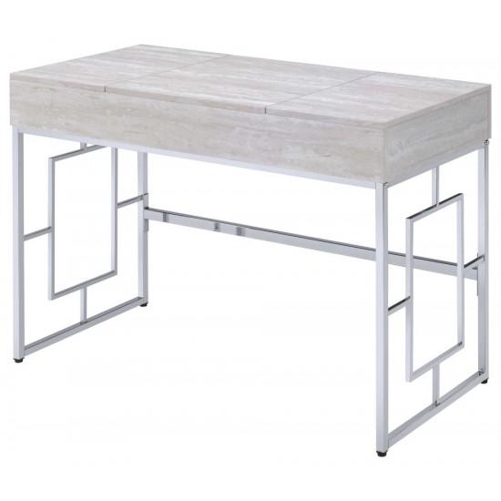 ACME Saffron Vanity Desk, Natural & Chrome