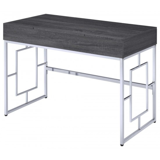 ACME Saffron Vanity Desk, Black Oak & Chrome