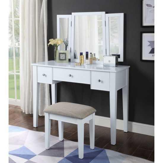 ACME Severus Vanity Set, Tan Fabric & White