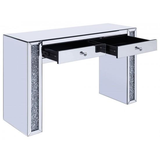 ACME Noralie Vanity Desk, Mirrored & Faux Diamonds