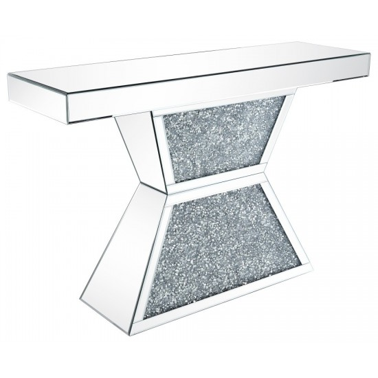 ACME Noralie Console Table, Mirrored & Faux Diamonds