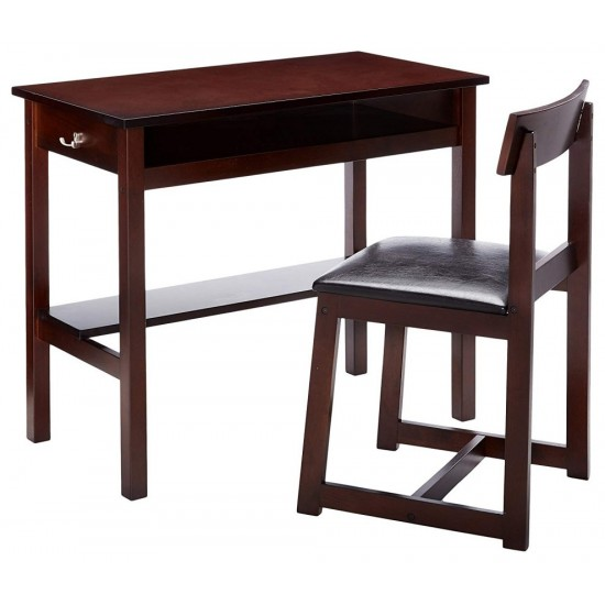 ACME Vester 2Pc Pack Desk & Chair, Black PU & Espresso