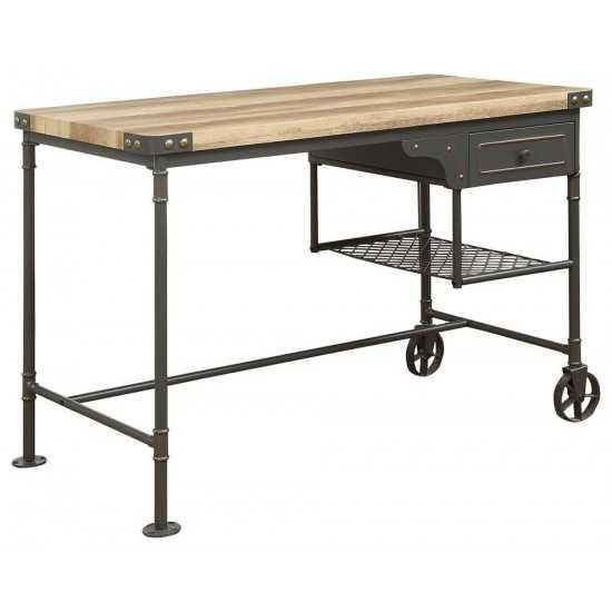 ACME Itzel Desk, Antique Oak & Sandy Gray