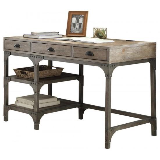 ACME Gorden Desk, Weathered Oak & Antique Silver