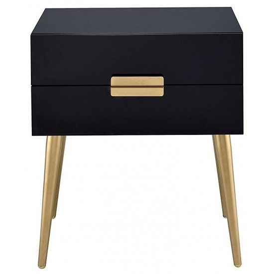 ACME Denvor Night Table, Black & Gold