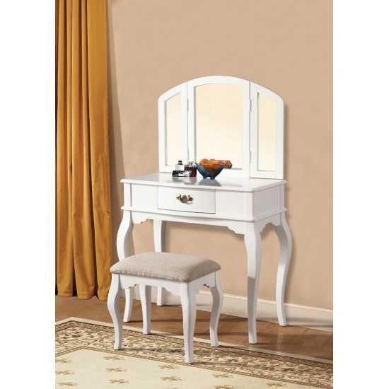 ACME Maren Vanity Desk & Stool, White
